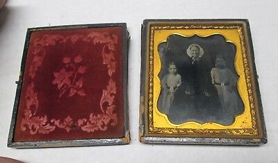 1850's Cased Image Ambrotype Photo Old Woman & Two Small Girls No Reserve
