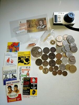 Silver coins, World coins, Australia banknote,camera, gold vial copper bullet
