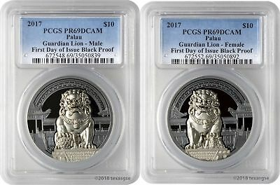 2017 $10 Palau Guardian Lion .999 Silver 2-Coin Black Proof Set PCGS PR69DCAM FD