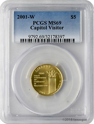 2001-W $5 Capitol Visitor Center Gold Commemorative Coin PCGS MS69