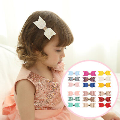 3Pc Girls Bow-Knot Sparkly Hair Clips Kids Children Accessories Toddler Angel