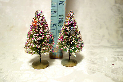 "Two Vintage 4"" Bottle Brush Christmas Trees with Glitter Mica Ornaments - Xmas"