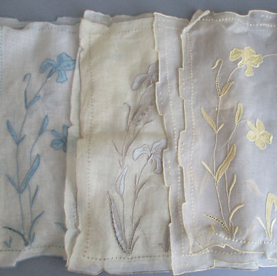 3 Vtg MARGHAB Hand Embroidered ORGANDY Placemats IRIS Flowers * BLUE Grey Yellow