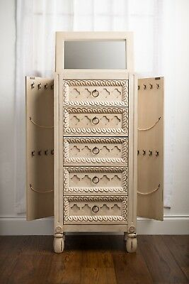 Jewelry Armoire Cabinet Wood Armoires Chests Free Standing With Vanity Mirror