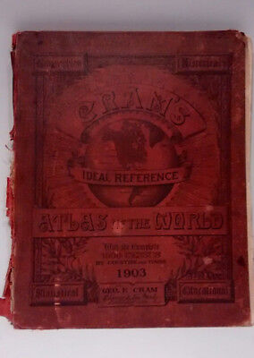 Original 1903 Cram's IDEAL REFERENCE ATLAS OF THE WORLD