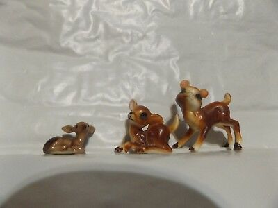 Three Small Deer Doe Fawn Figurine Ceramic Figures