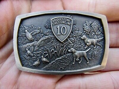 Vtg BRIDGESTONE Belt Buckle DOG Tires 10 YEAR Award Jostens Firestone RARE MINT