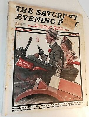 Norman Rockwell cover illustrated Saturday Evening Post issue of July 31, 1920