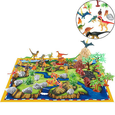 New 50 Pcs Dinosaur Play Set Figures Toy Realistic Trees Rocks Mat Map Kids Gift