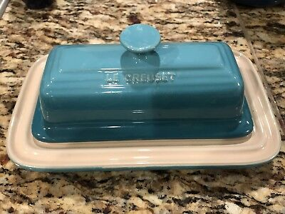 Le Creuset Blue Ceramic Pottery Butter Dish With Lid