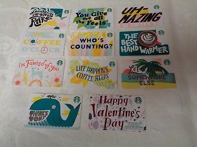 10 - STARBUCKS 2019 VALENTINES MARKER CARDS  w/ DIAMOND MARK ON BACK NO VALUE