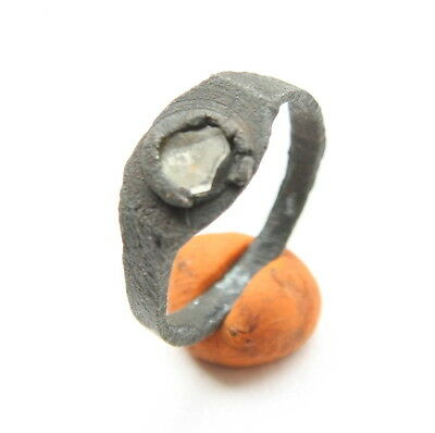 Ancient Medieval Bronze Finger Ring With White Inlay (ARL)