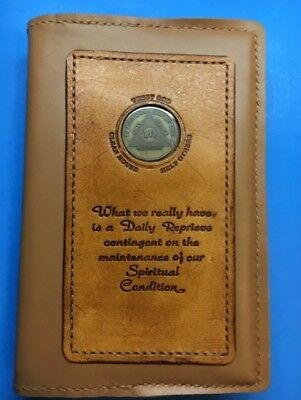 Alcoholics Anonymous Genuine Leather Big Book slip-on cover With Coin Holder