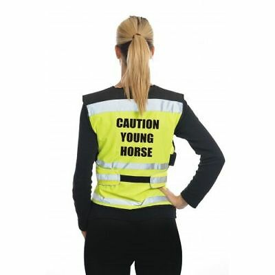 Equisafety Air Waistcoat Caution Young Horse Reflective Hi Vis For Rider