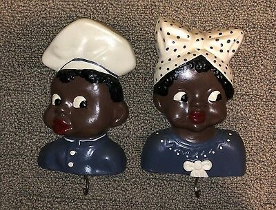 Vintage Black Americana Chalkware Man Woman Wall Hangings With Hooks