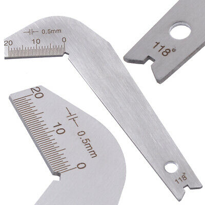 Stainless Steel Drill Bit Angle Gauge Edge Dimension Gage Sharpening Tool Kit