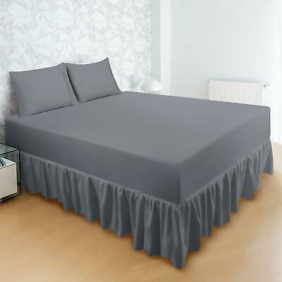 """Bed Ruffle Skirt Brushed Microfiber Wrap 16"""" Drop Also in Wholesale Lot"""