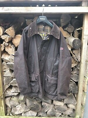 """Mens BARBOUR Bedale Waxed Cotton Jacket Brown Size 42"""" With Fleece Pile Lining."""