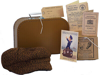 Wartime Memorabilia-History 1940's  BOYS Cap-Suitcase-Gas Mask Box & Accessories