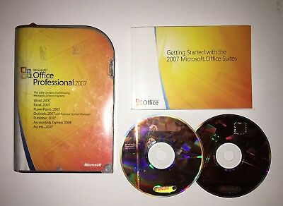Microsoft Office Professional Pro 269-11094 2007 Word Excel Access +more genuine
