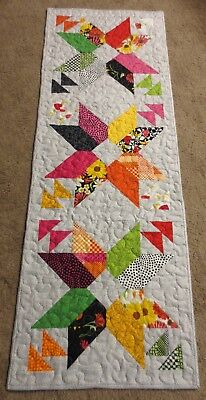 "Hand Made Quilted Table Runner ~ Bright colors ~ 17 1/2"" x 49"" ~ 100% cotton"