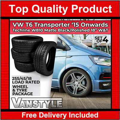 "Vw T6 15> Techline W810 Matte Black Polished 18"" Load Rated Alloy Wheel Tyre Set"