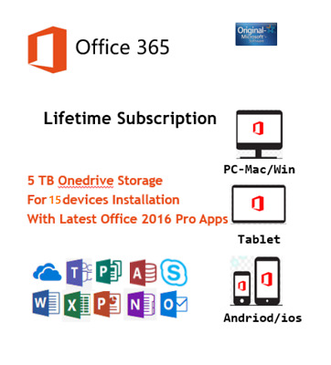 Microsoft Office 2016 Pro Office 365 Business & Home Account 15 Devices 5 TB