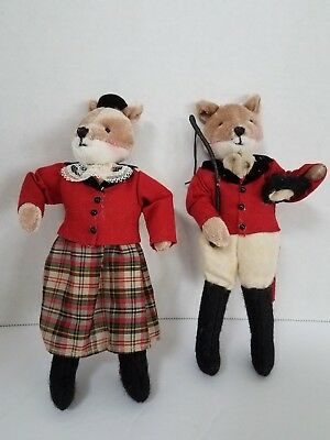 Mr & Mrs Fox  Fox Hunting Ornaments   8""