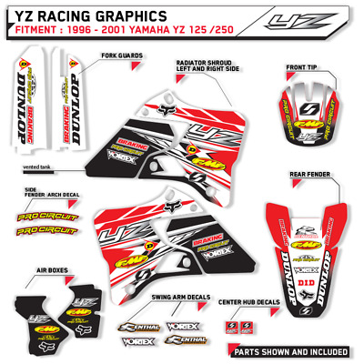 MOTOCROSS RED GRAPHICS YAMAHA YZ125 YZ250 1996 1997 1998 1999 2000 2001 DECALS