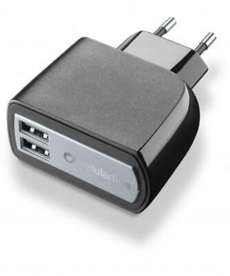 Cellularline USB charger dual ultra - fast charge universal Negro Nuevo