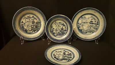 Four (4) Antique Chinese Blue and White Canton Plates, Circa 1870