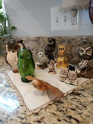 Owl Collection Lot Mcm, Sovenir, Paperweight, Glass, Bisque, Resin 9 In Lot