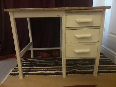 Shabby Chic Painted White Distressed Vintage Desk - Home Office Writing Desk
