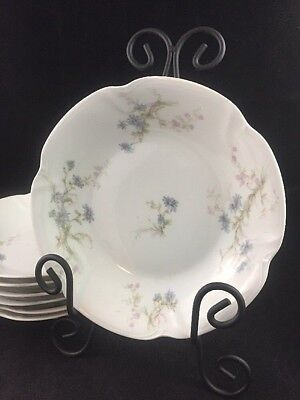"Set of 7 THEODORE HAVILAND Limoges France BLUE DAISIES 7 1/2"" Coupe Soup Bowls"