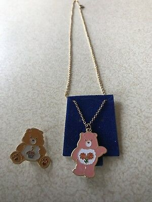1983 Care Bears Pin And Necklace