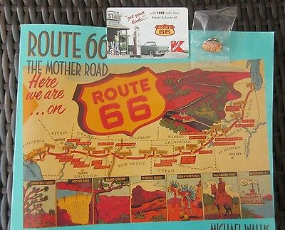"""Route 66. 1St Edition Rt.66 Book; Rt.66 Telephone Card; & Rt.66 Pin. .""""3"""" Items"""