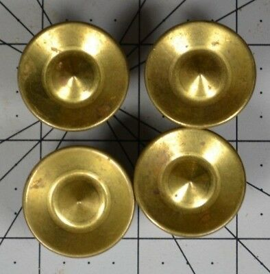 """Lot 4 Vintage Round Brass Antique Cabinet Knobs Drawer Pulls 1"""" Circle Pointed"""
