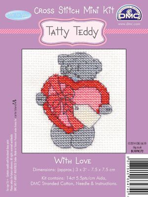 DMC Me to You Tatty Teddy  Mini Counted Cross Stitch Kit - With Love