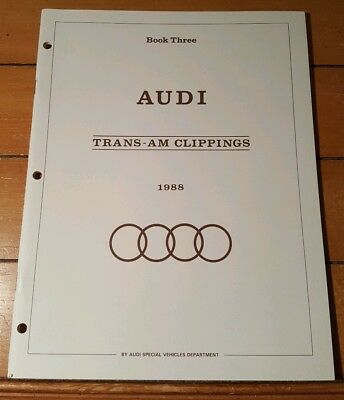 1988 Vintage AUDI TRANS AM NEWSPAPER CLIPPINGS BROCHURE DEALERSHIP 40 pgs