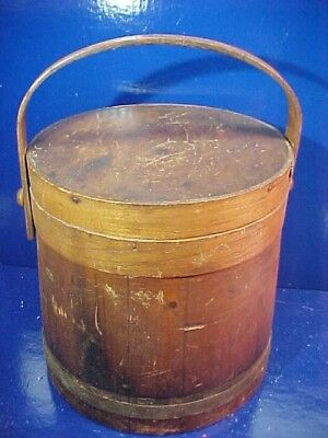 19thc PRIMITIVE Country WOOD Storage FIRKIN w Swing Handle-Lid -Orig Finish