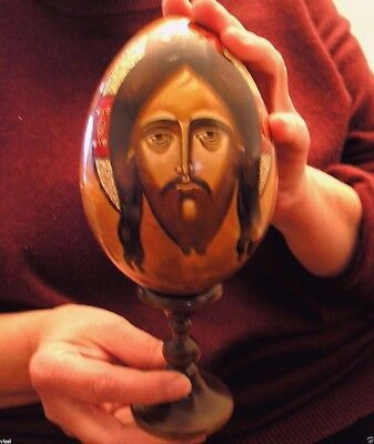 Old Very Large Hand Painted Russian Wooden Easter Ornament Icon Egg