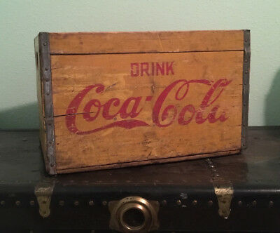 """Vintage COCA-COLA """"Drink Coca-Cola"""" Large Bottle Wooden Box Crate, Yellow & Red"""