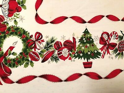 Vtg Cotton Print Tablecloth Christmas Ornament Tree Bell Mid Century 1950s 62x84