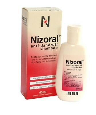 Nizoral Anti Dandruff Shampoo Dry Flaky Red & Itchy Scalp Prevents Symptoms 60ML
