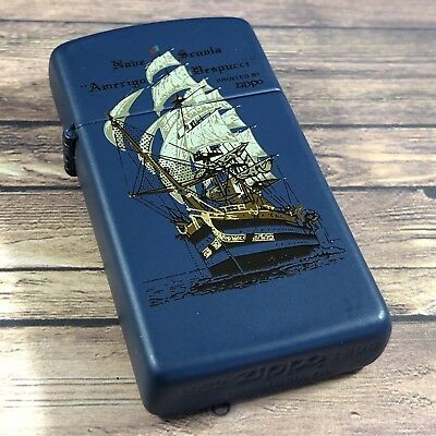 1990 Vintage Slim Zippo Lighter - Italian Navy - Amerigo Vespucci - Unfired