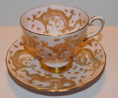Tuscan Dragons Fine Bone China on Pink Chintz Gold Trim Cup & Saucer Made in Eng