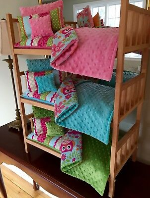 Triple Doll Bunk Bed Stackable 15pc Custom Bedding Fits 18