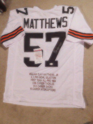 bba5e7690 Clay Matthews signed white Browns STAT jersey