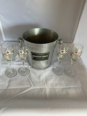 Vintage Perrier Jouet Epernay France Champagne Aluminum Ice Bucket W/ 4 Flutes!!