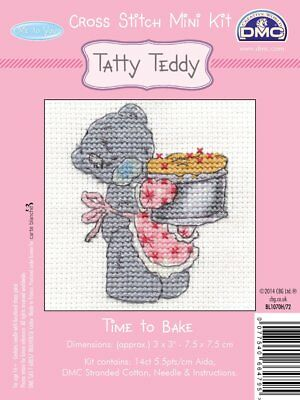 DMC Me to you Tatty Teddy  Mini Counted Cross Stitch Kit - Time To Bake